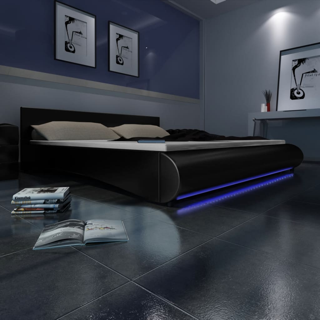 der polsterbett kunstleder lattenrost led streifen schwarz. Black Bedroom Furniture Sets. Home Design Ideas