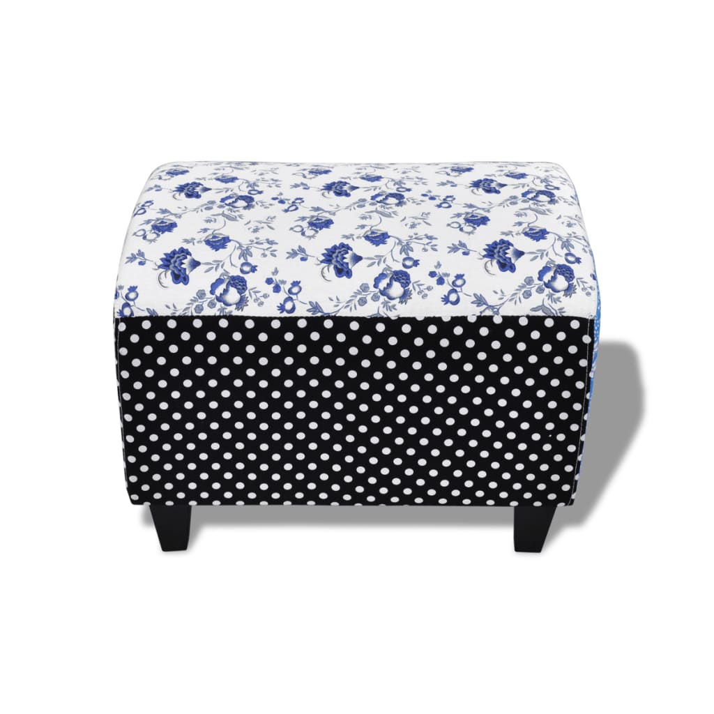 patchwork foot stool ottoman country living style flower spot. Black Bedroom Furniture Sets. Home Design Ideas