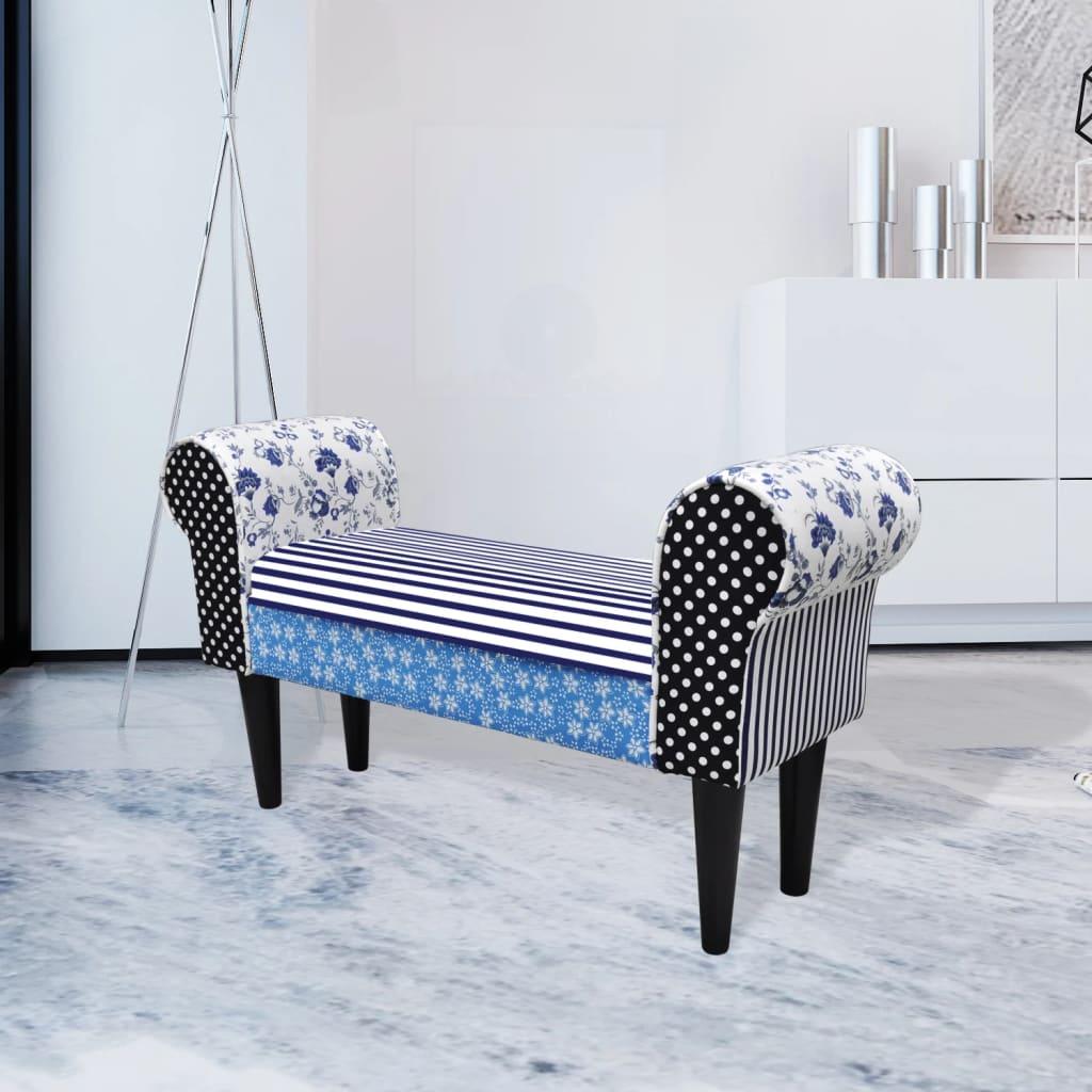 vidaXL Vidéki stílusú kék / fehér patchwork ülőke