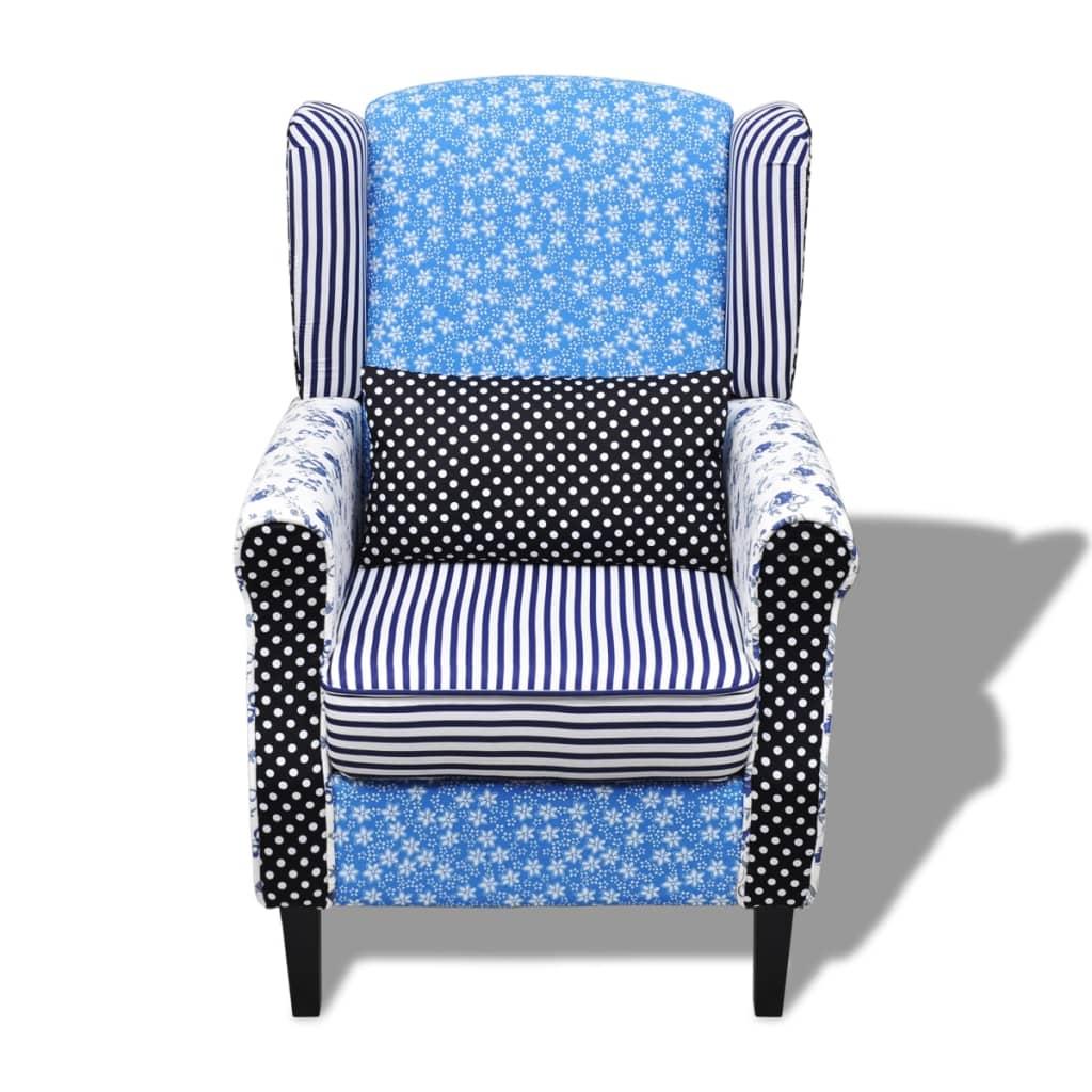 patchwork fauteuil bloemen en stippen blauw en wit. Black Bedroom Furniture Sets. Home Design Ideas