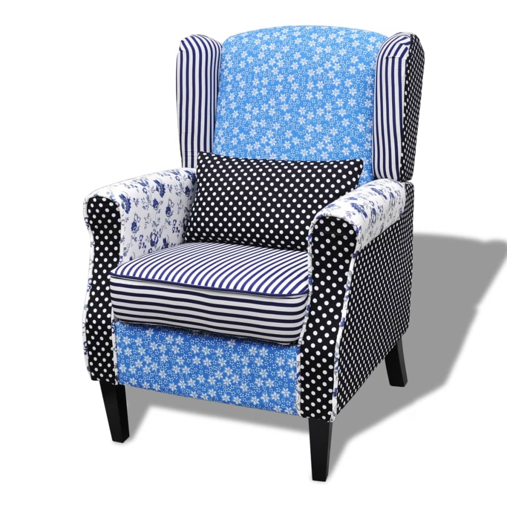 la boutique en ligne fauteuil patchwork relax de style campagne couleurs bleu et blanc. Black Bedroom Furniture Sets. Home Design Ideas