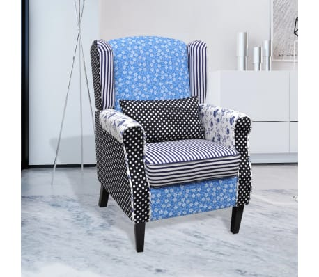 Patchwork Arm Chair Dining Armchair Retro Wingback Sofa