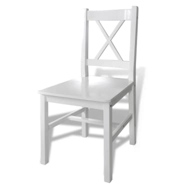 Drveni stol s 4 drvene stolice, bijeli[4/5]