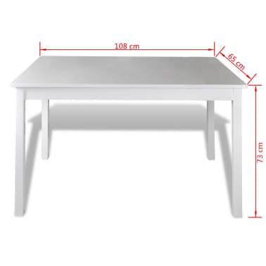 Drveni stol s 4 drvene stolice, bijeli[5/5]