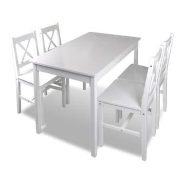 Drveni stol s 4 drvene stolice, bijeli[2/5]