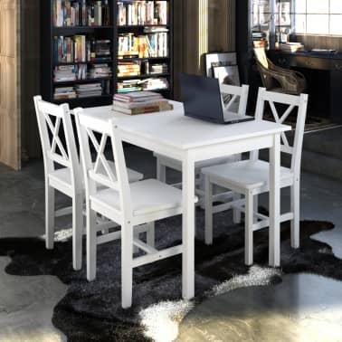 Drveni stol s 4 drvene stolice, bijeli[1/5]
