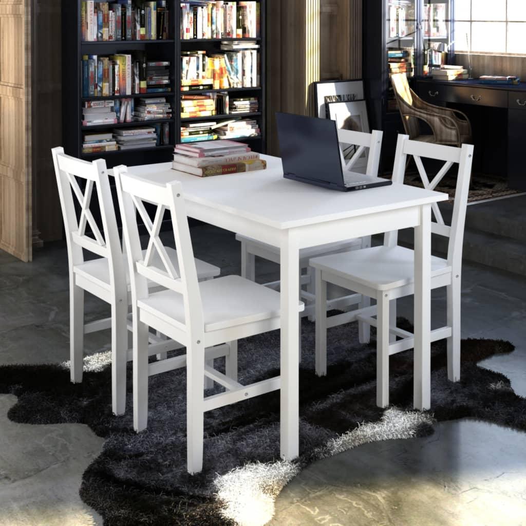 vidaXL Mesa de madera con 4 sillas de madera Set de muebles Blanco ...