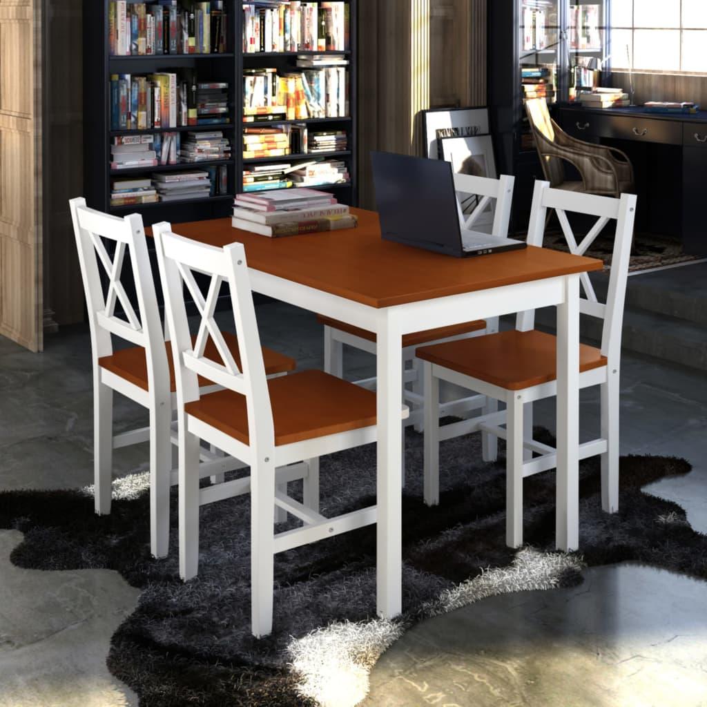Matsalsgrupp brun och vit med bord fyra stolar