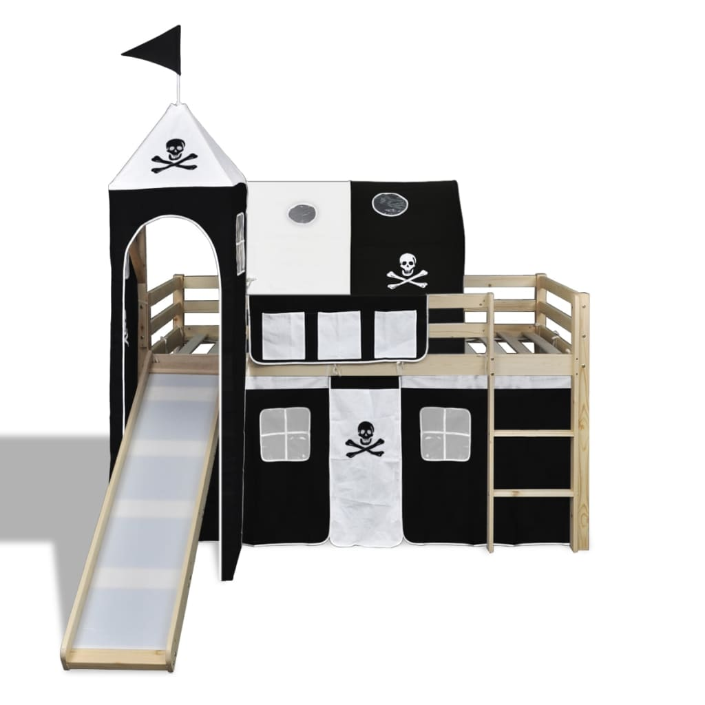 la boutique en ligne lit mezzanine avec chelle toboggan naturel th me des pirates. Black Bedroom Furniture Sets. Home Design Ideas
