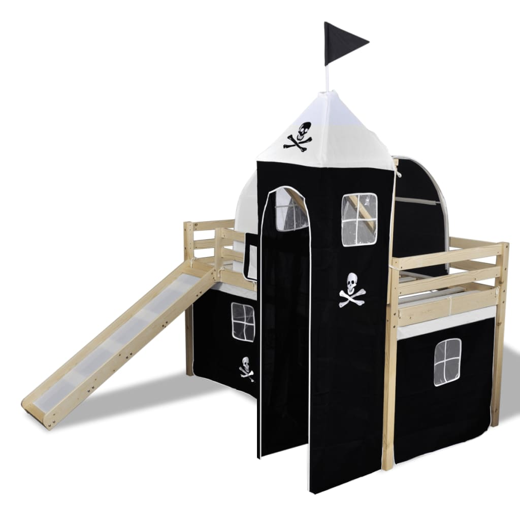 Loft Bed With Slide Ladder Natural Colour Pirate Themed