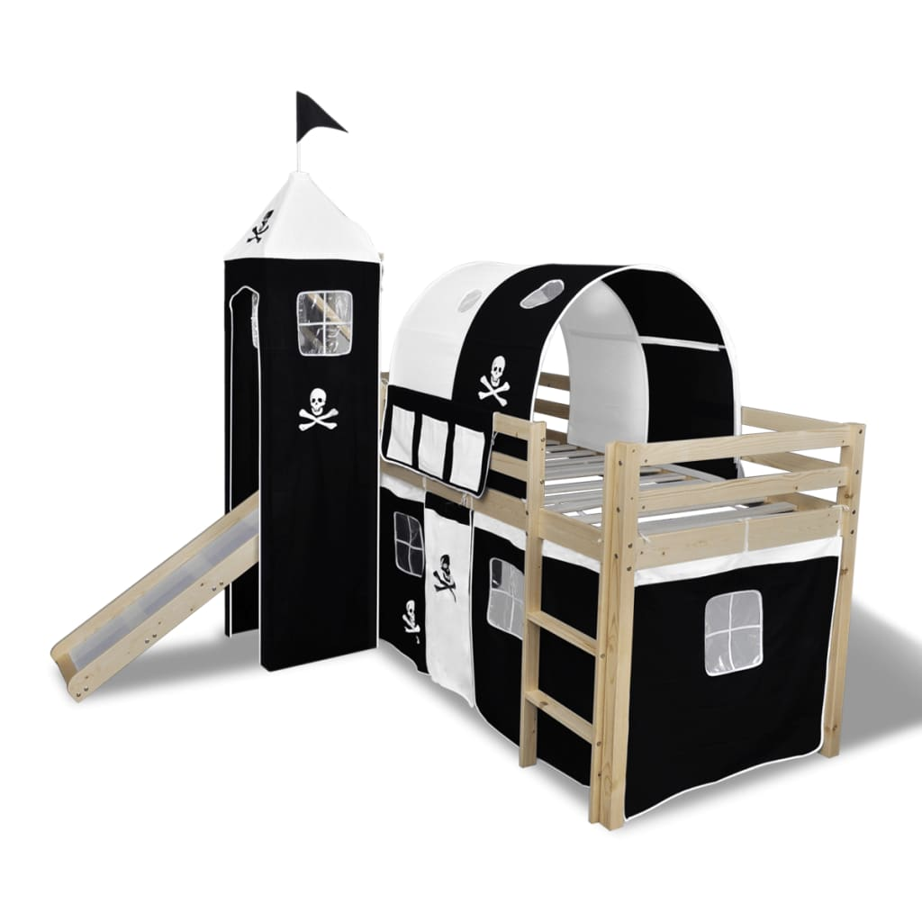 Loft bed with slide ladder natural colour for Pirate bed with slide