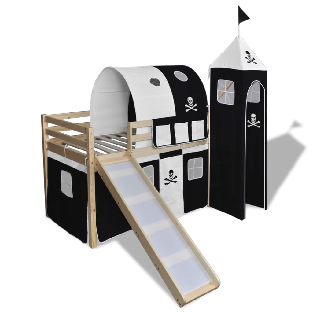 New Loft Bed With Slide Ladder White Wood Frame Pirate