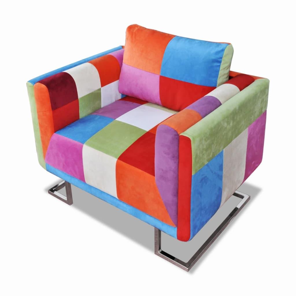 vidaXL Fotel w formie kostki z chromowaną podstawą, patchworkowy