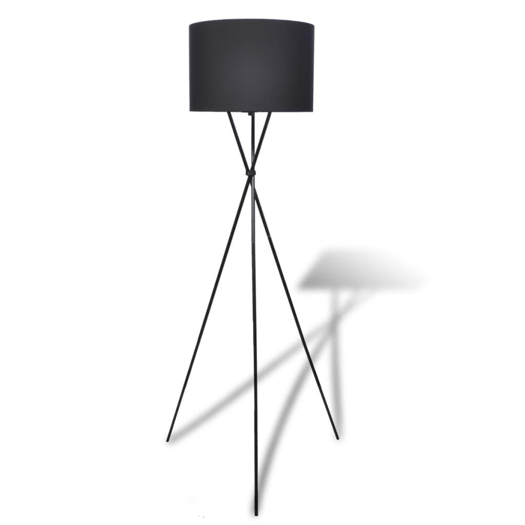 vidaXL Padló állólámpa nagy fekete állvány árnyékolóval