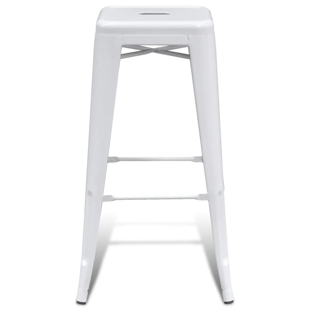 Metal-Steel-Bar-Chair-High-Chairs-Bar-Stools-Home-Bar-Square-2-pcs-White