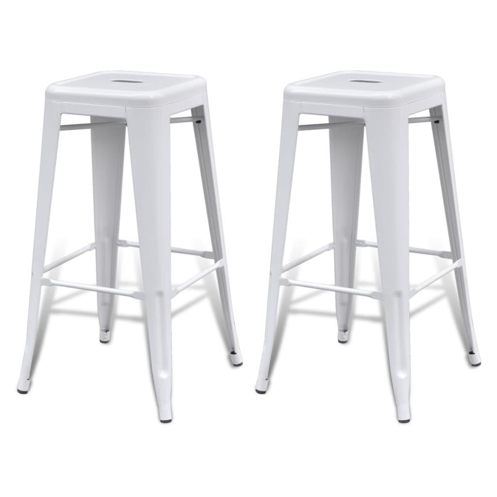 Metal-Steel-Bar-Chair-High-Chairs-Bar-Stools-Home-Bar-Square-2-pcs-White