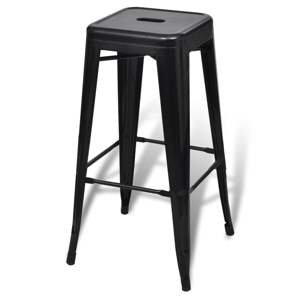 Bar Chair High Chair Bar Stool Square 2 Pcs Black Vidaxl Com