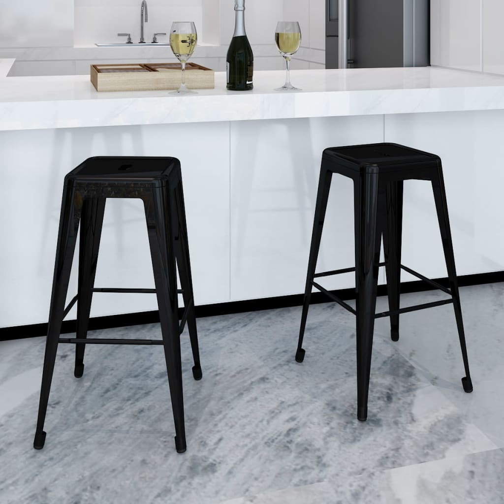 Metal-Steel-Bar-Chair-High-Chairs-Bar-Stools-Home-Bar-Square-2-pcs-Black