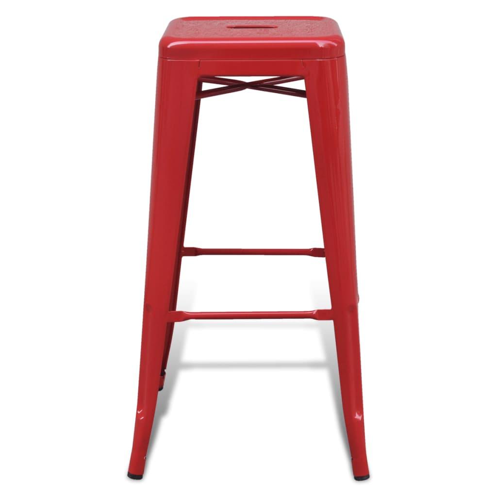 Taburete de cocina bar cuadrado 2 unidades rojas tienda for Sillas de cocina rojas
