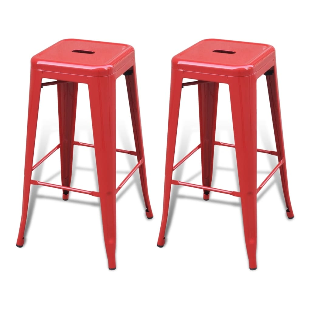 Metal-Steel-Bar-Chair-High-Chairs-Bar-Stools-Furniture-Square-2-pcs-Red