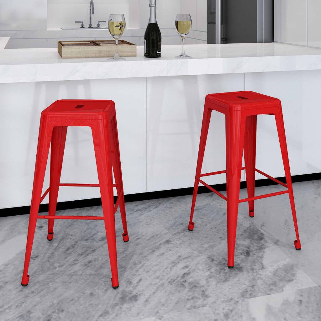 Bar chair high chairs bar stools square 2 pcs red vidaxl com
