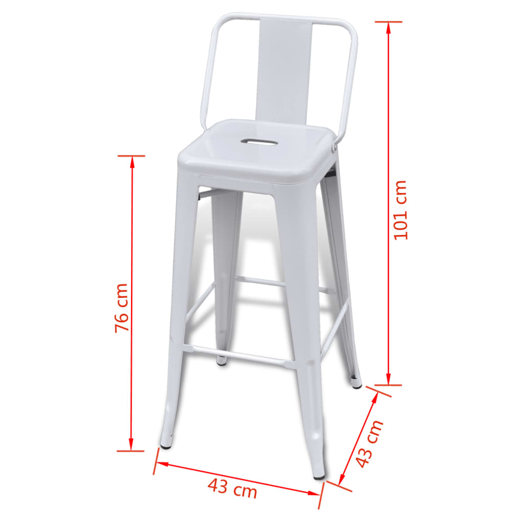 Steel-Bar-Chair-High-Chairs-Home-Bar-Furniture-Stool-Square-Back-2pcs-White