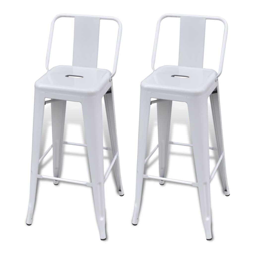 Bar Chair High Chairs Bar Stools Square 2 pcs Back White