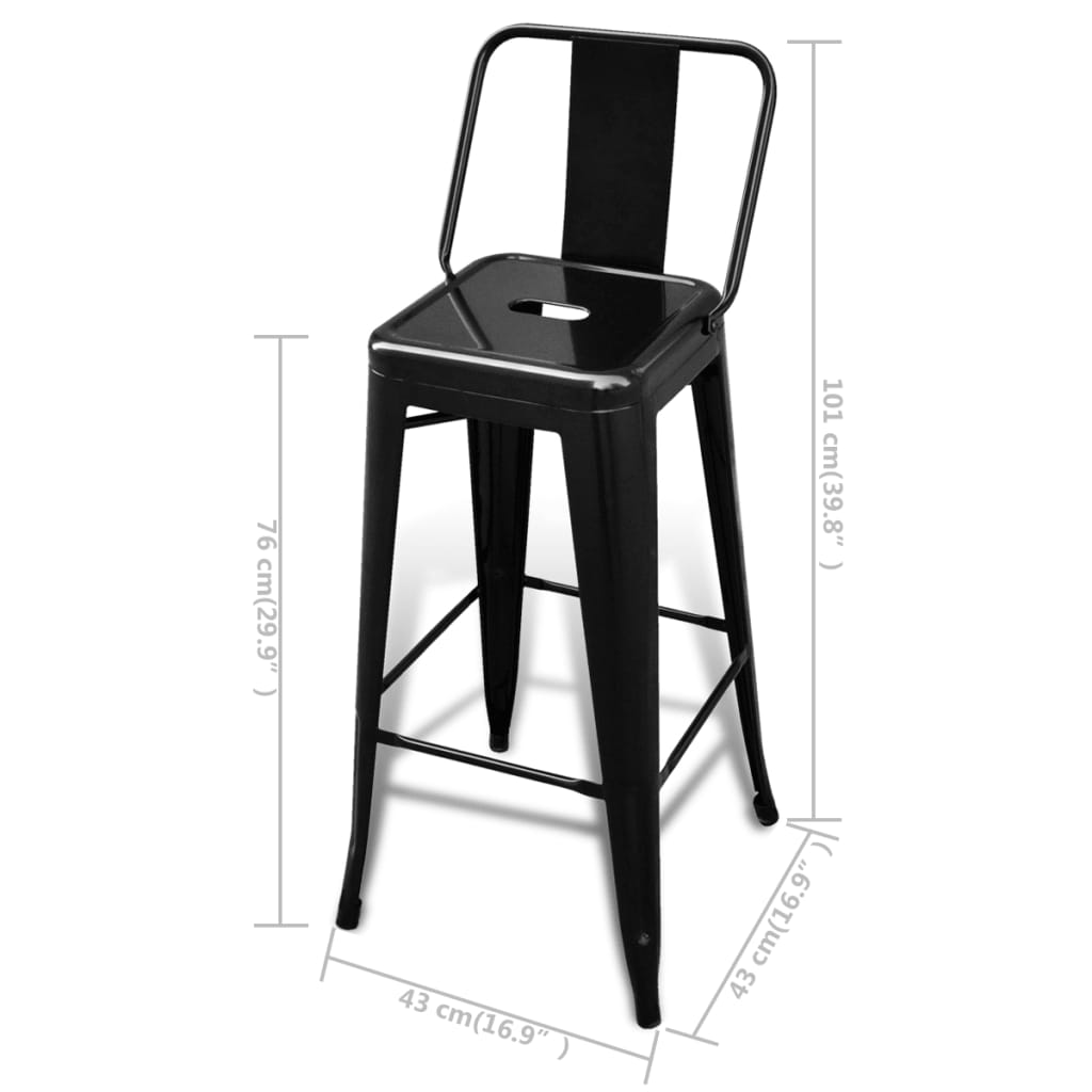 Steel-Bar-Chair-High-Chairs-Home-Bar-Furniture-Stools-Square-Black-2-pcs
