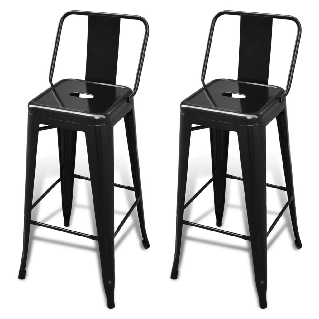 Bar chair high chairs bar stools square 2 pcs back black - Chaise haute de bar ...