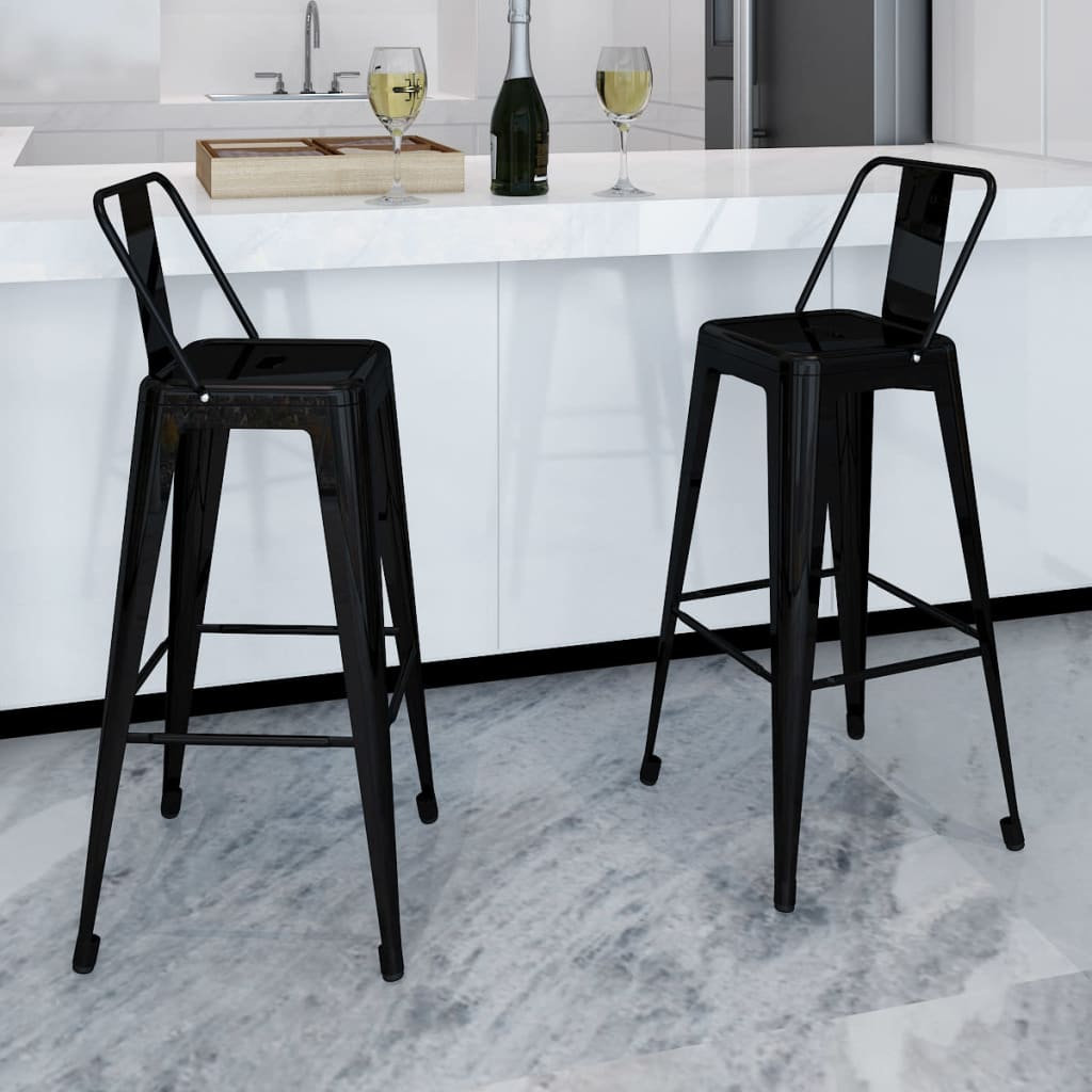 2 tabourets avec dossier chaise de bar haute mobilier de bar blanc noir rouge ebay. Black Bedroom Furniture Sets. Home Design Ideas