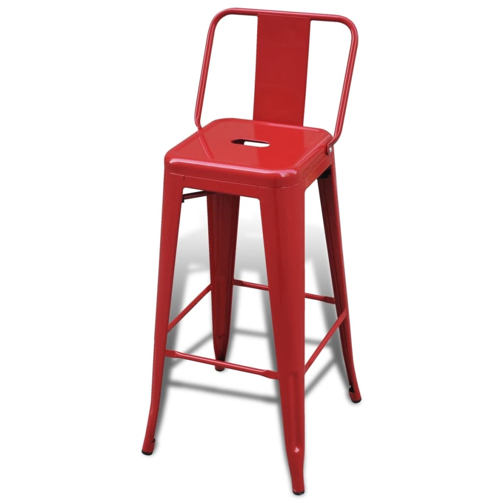 Steel-Bar-Chair-High-Chairs-Home-Bar-Furniture-Stools-Square-Back-2-pcs-Red