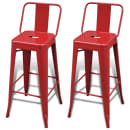 Bar Chair High Chairs Bar Stools Square 2 pcs Back Red