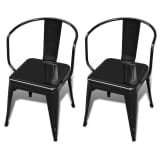 Dining Chairs Short Chairs 2 pcs Back Black