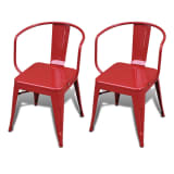 Dining Chairs Short Chairs 2 pcs Back Red