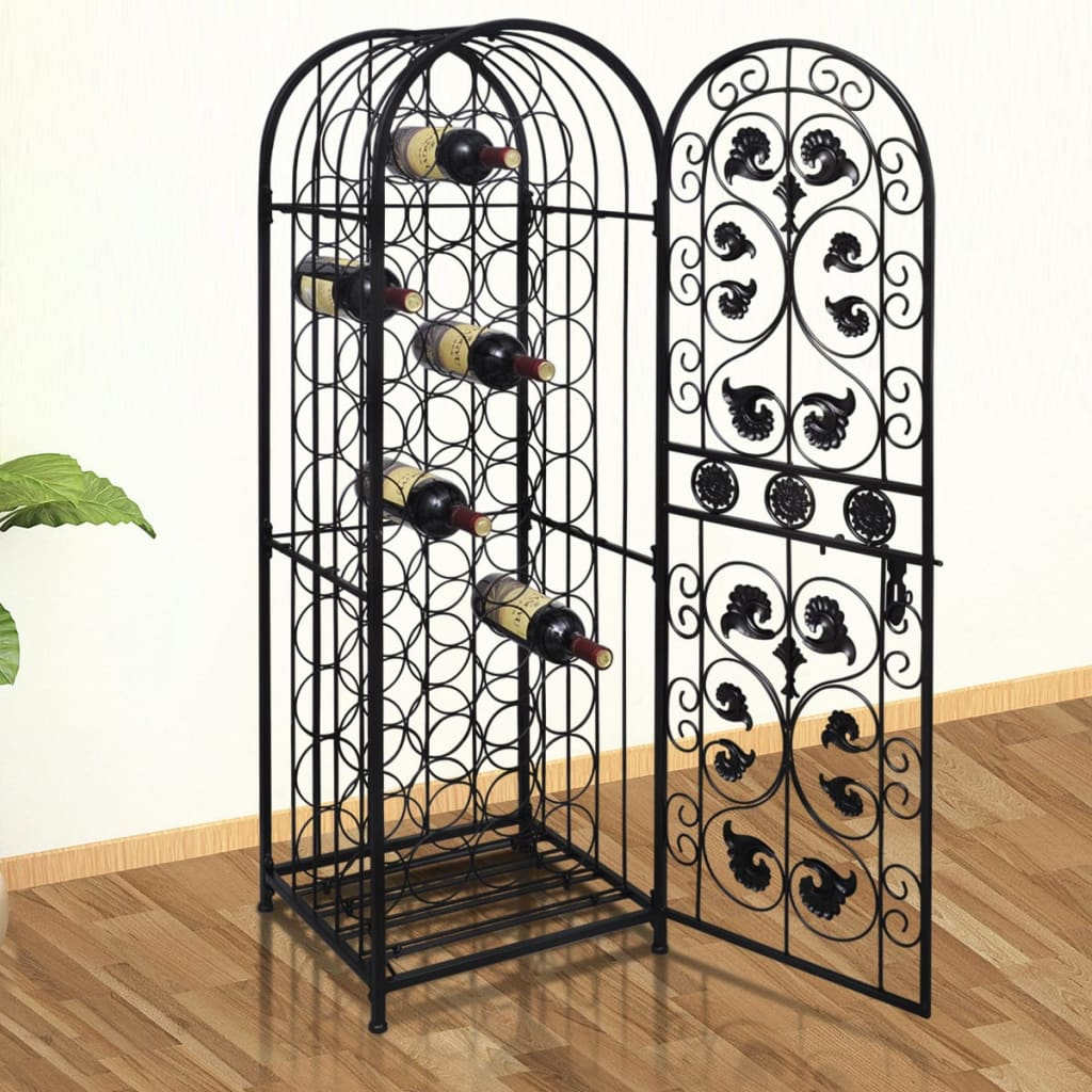 metal wine cabinet rack wine stand for 45 bottles. Black Bedroom Furniture Sets. Home Design Ideas