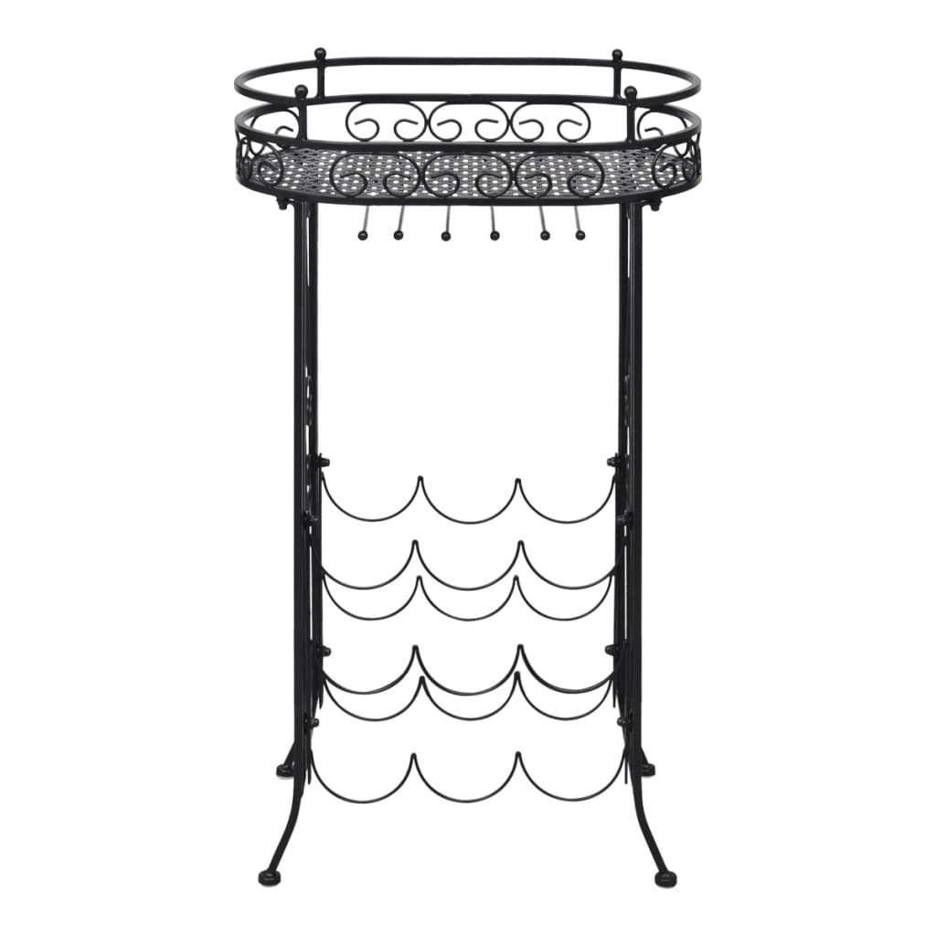 Metal Wine Rack Wine Table With Hooks For 9 Bottles