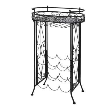 metal wine rack wine table with hooks for 9 bottles vidaxl