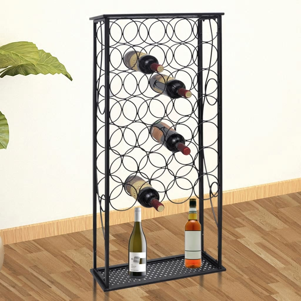 Metal wine rack wine stand for 28 bottles - Muebles de metal ...