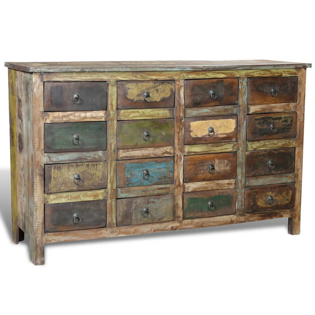 Wonderful image of  .co.uk Reclaimed Wood Cabinet Home Storage Antique style 16 Drawers with #877244 color and 1024x1024 pixels