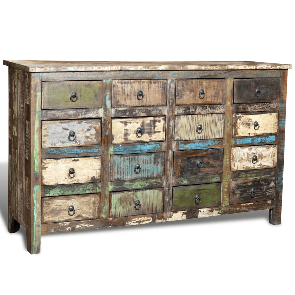 Wonderful image of  .co.uk Reclaimed Wood Cabinet Home Storage Antique style 16 Drawers with #3F828C color and 1024x1024 pixels