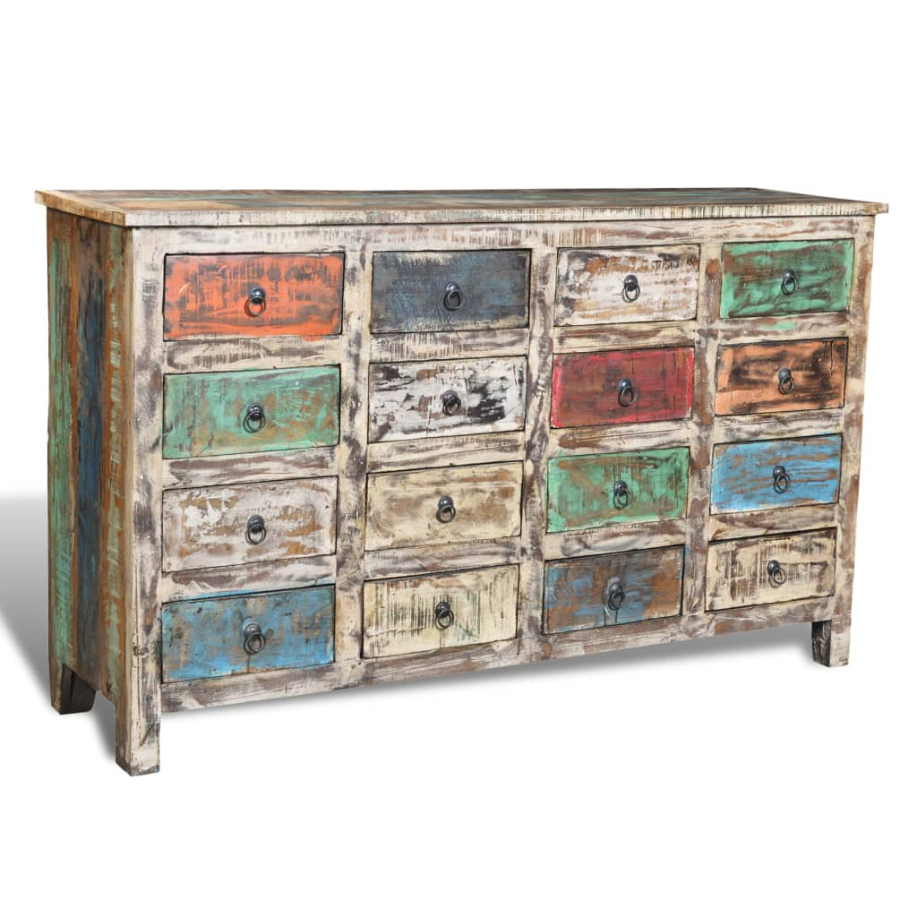 Wonderful image of vidaXL.co.uk Reclaimed Wood Cabinet Storage with 16 Drawers White with #437288 color and 1024x1024 pixels