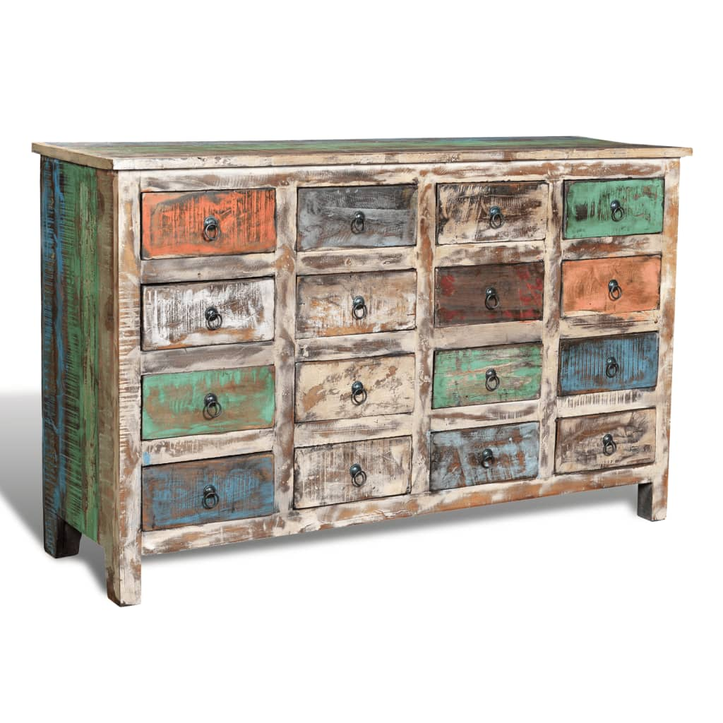 Wonderful image of vidaXL.co.uk Reclaimed Wood Cabinet Storage with 16 Drawers White with #855D46 color and 1024x1024 pixels