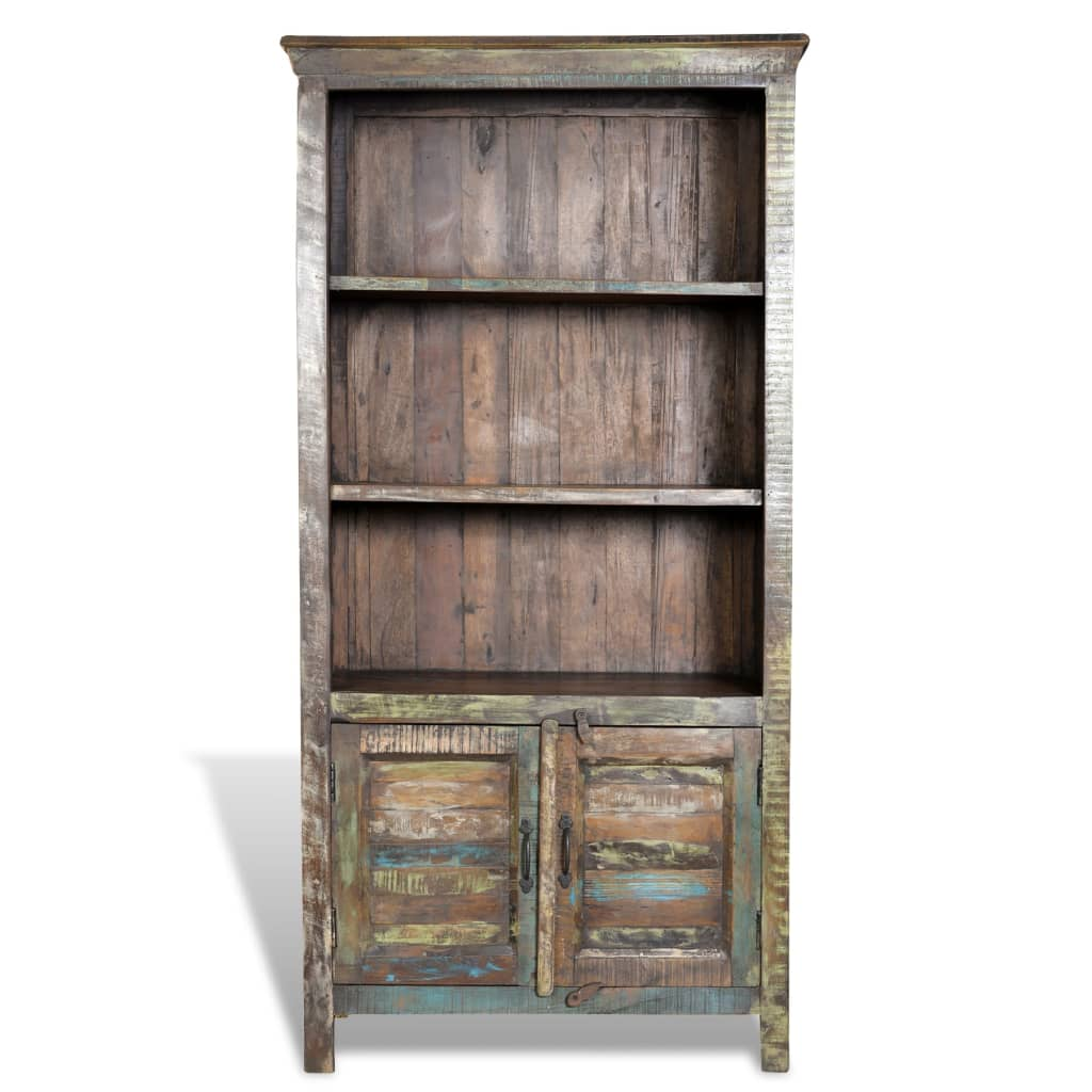 Reclaimed Wood Bookshelf Multicolour Bookcase With 3