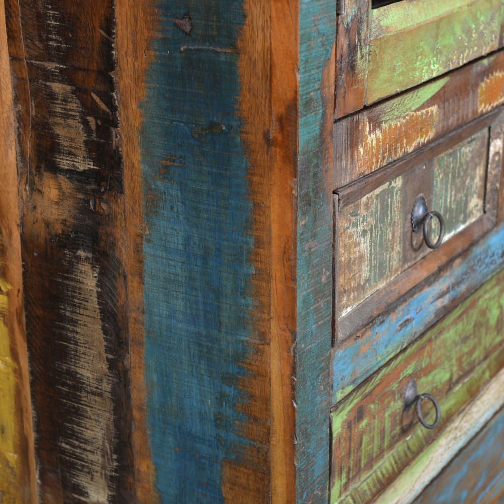vidaXL se Bokhylla avåtervunnet trä 5 lådor 2 dörrar med glas
