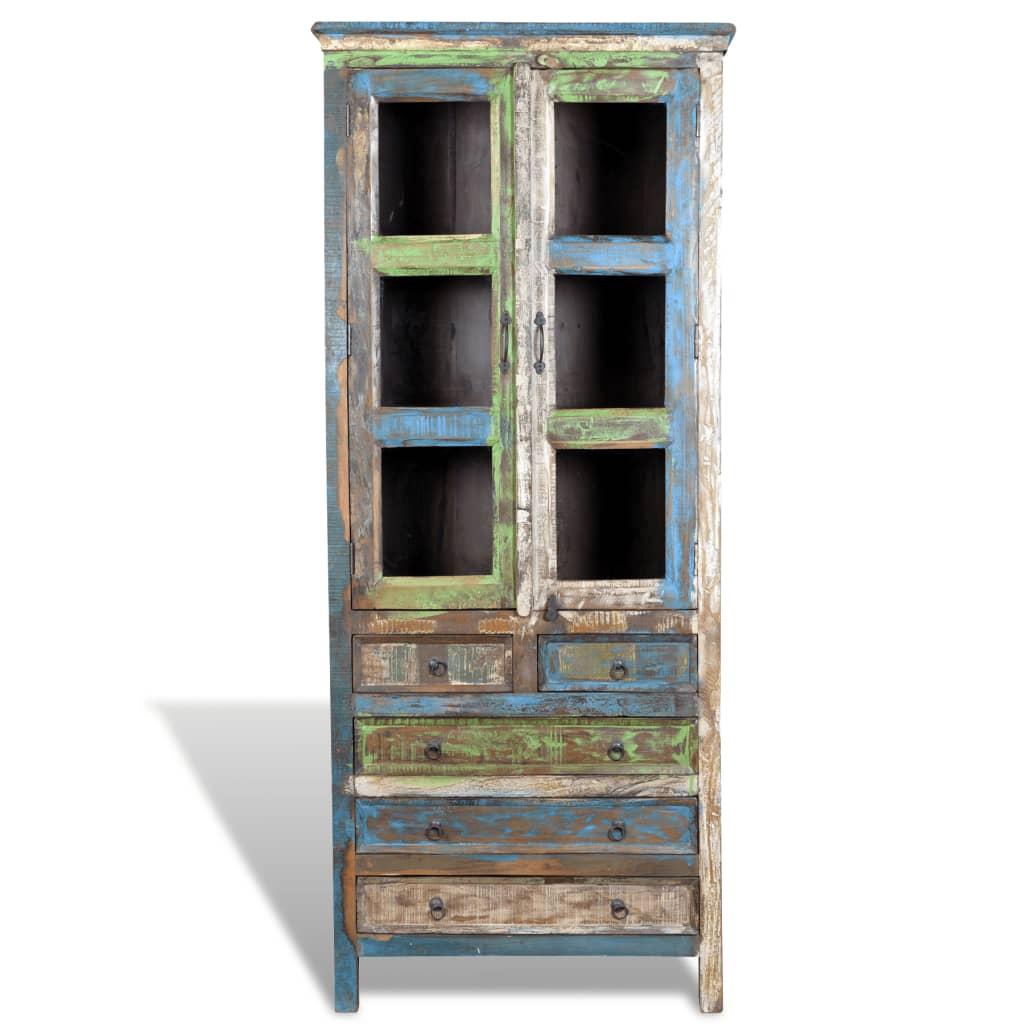 Boekenkast gerecycled hout met 5 lades en 2 deurtjes online kopen - Boekenkast hout en ijzer ...