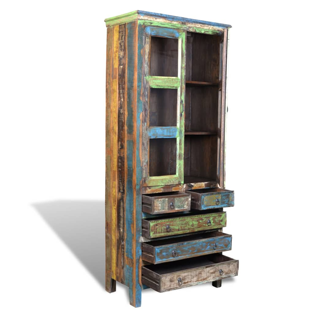 Recycled Wood Bookcase ~ Reclaimed wood bookshelf bookcase drawers doors