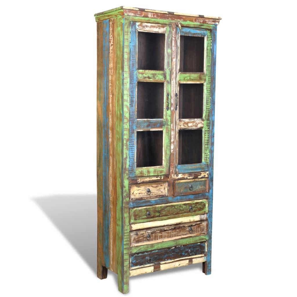 Recycled Wood Bookcase ~ Vidaxl reclaimed wood bookshelf bookcase drawers