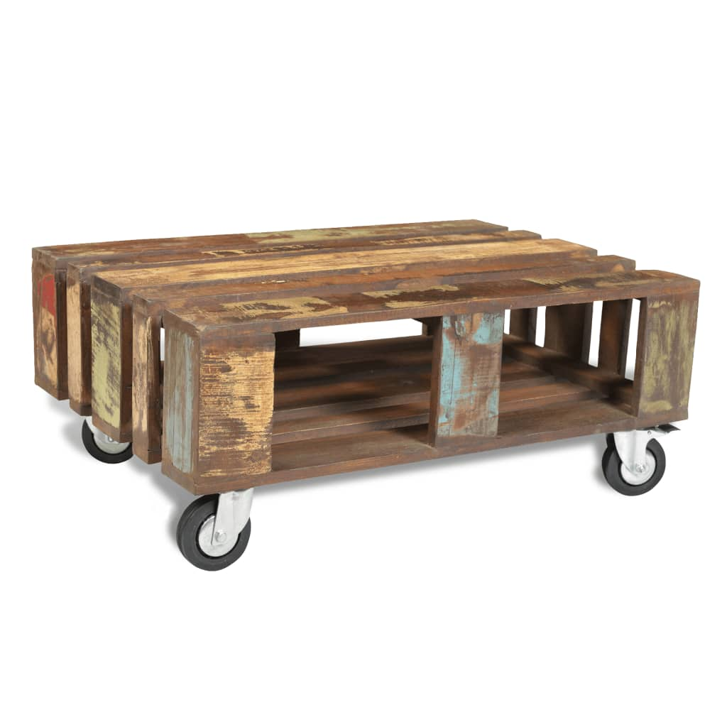 Antique style reclaimed wood coffee table for Coffee tables on wheels
