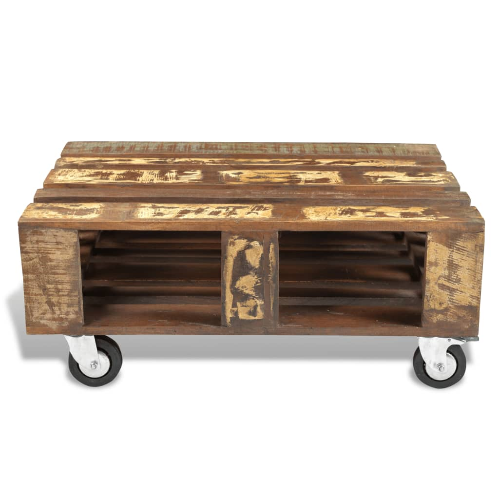 Superb img of vidaXL.co.uk Antique style Reclaimed Wood Coffee Table with 4 Wheels with #A57726 color and 1024x1024 pixels