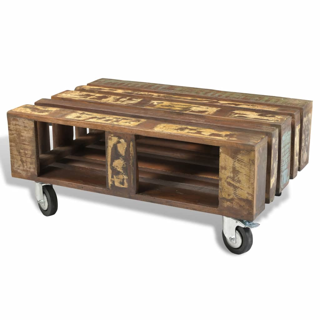 Antique style reclaimed wood coffee table with 4 wheels - Table basse style vintage ...